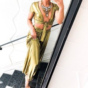 Pants - Metallic Gold Tie Knot Crop Top Palazzo Pants Set